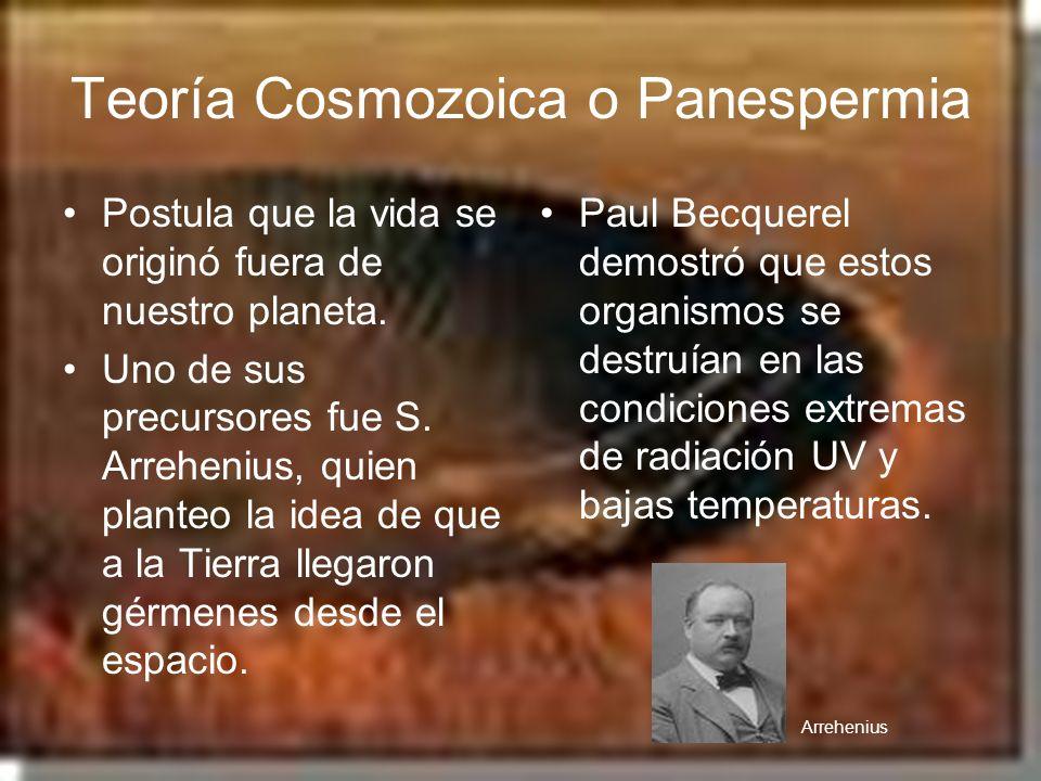Teoría Cosmozoica o Panespermia Postula que la vida se originó fuera de nuestro planeta. Uno de sus precursores fue S. Arrehenius, quien planteo la id