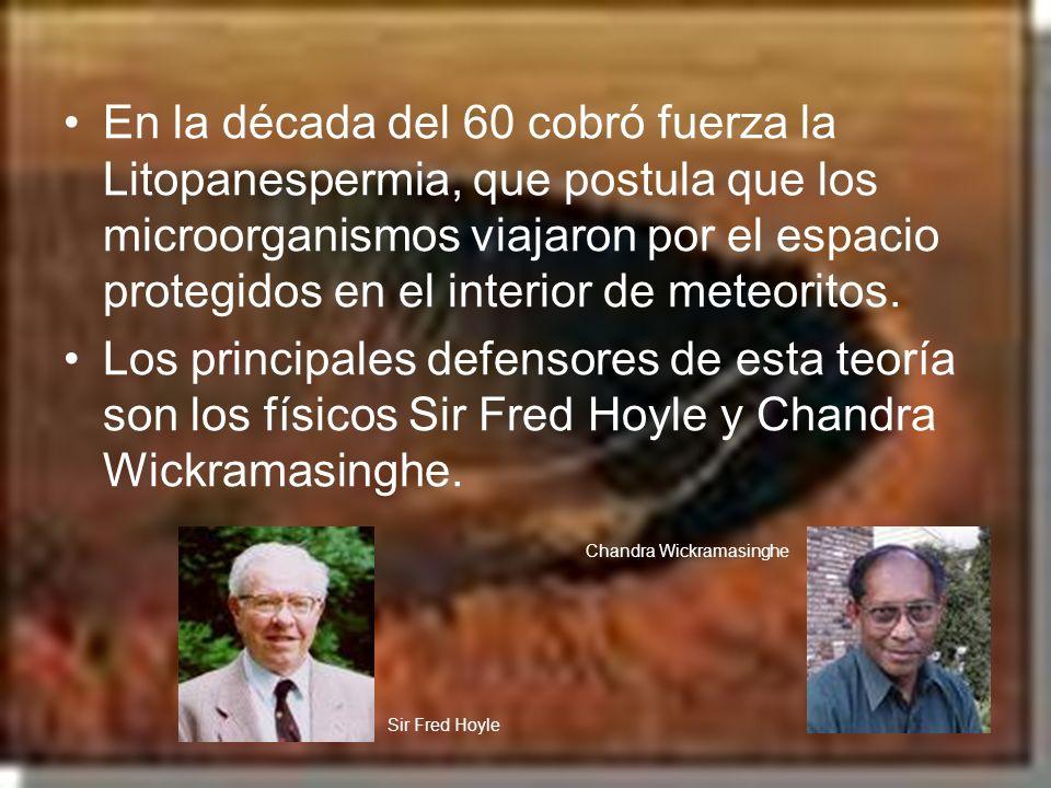 En la década del 60 cobró fuerza la Litopanespermia, que postula que los microorganismos viajaron por el espacio protegidos en el interior de meteorit