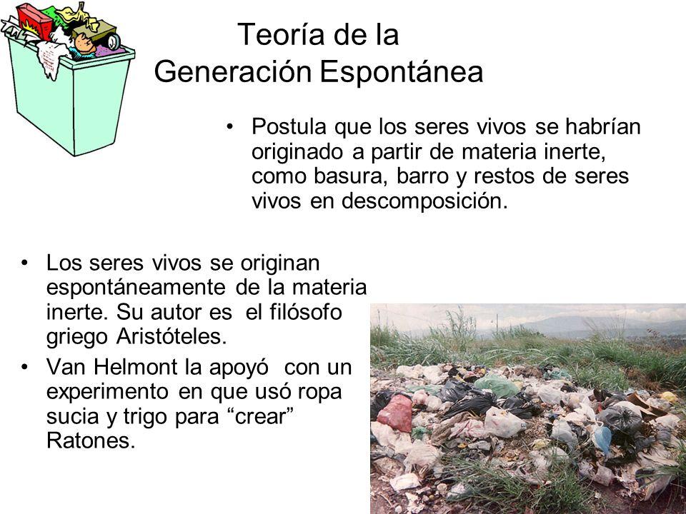 Teoría de la Generación Espontánea Postula que los seres vivos se habrían originado a partir de materia inerte, como basura, barro y restos de seres vivos en descomposición.