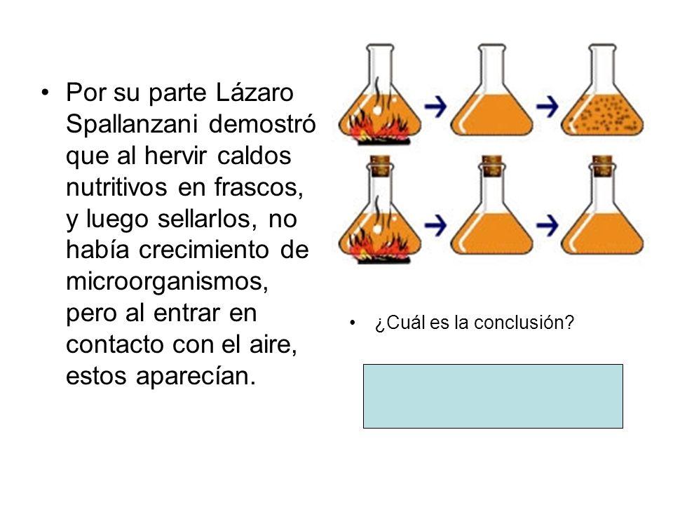 Por su parte Lázaro Spallanzani demostró que al hervir caldos nutritivos en frascos, y luego sellarlos, no había crecimiento de microorganismos, pero al entrar en contacto con el aire, estos aparecían.