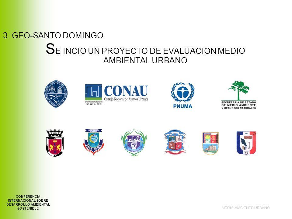 S E INCIO UN PROYECTO DE EVALUACION MEDIO AMBIENTAL URBANO MEDIO AMBIENTE URBANO CONFERENCIA INTERNACIONAL SOBRE DESARROLLO AMBIENTAL SOSTENIBLE 3.