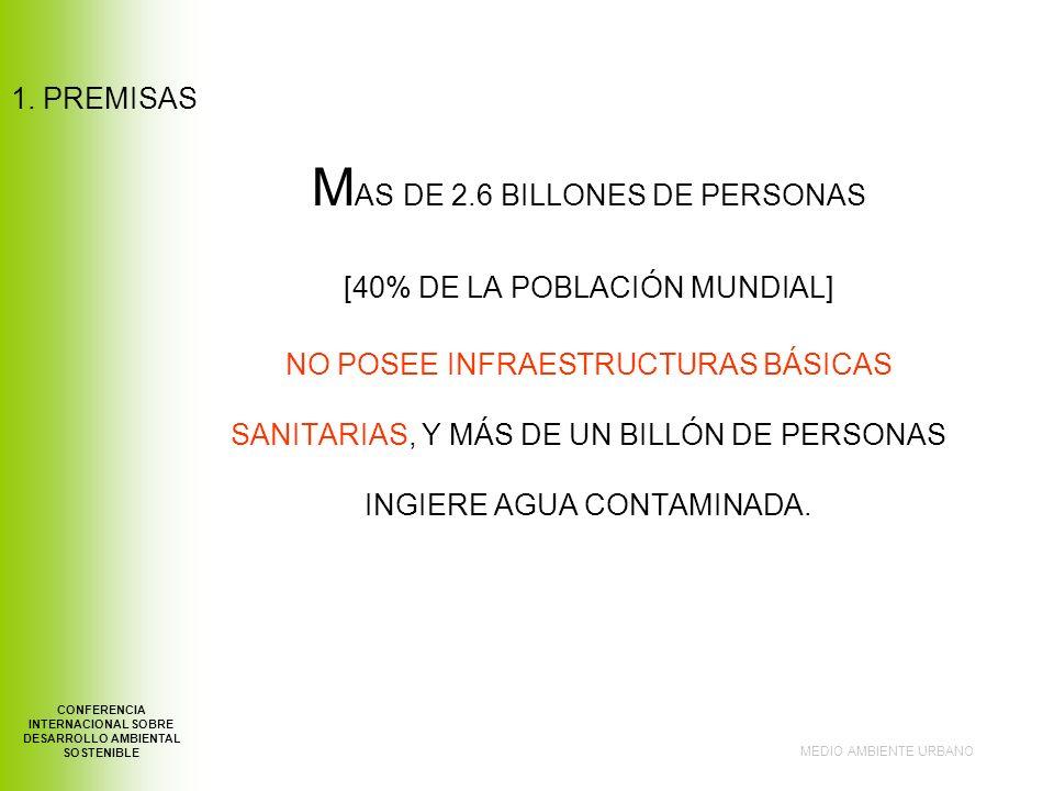 1. PREMISAS M AS DE 2.6 BILLONES DE PERSONAS [40% DE LA POBLACIÓN MUNDIAL] NO POSEE INFRAESTRUCTURAS BÁSICAS SANITARIAS, Y MÁS DE UN BILLÓN DE PERSONA