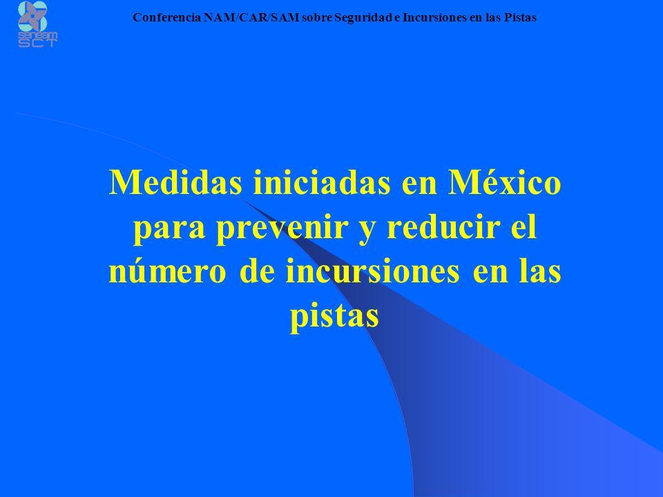 Medidas iniciadas en México para prevenir y reducir el número de incursiones en las pistas Conferencia NAM/CAR/SAM sobre Seguridad e Incursiones en la