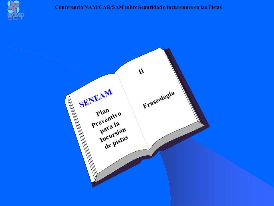 Fraseología SENEAM Plan Preventivo para la Incursión de pistas Conferencia NAM/CAR/SAM sobre Seguridad e Incursiones en las Pistas II