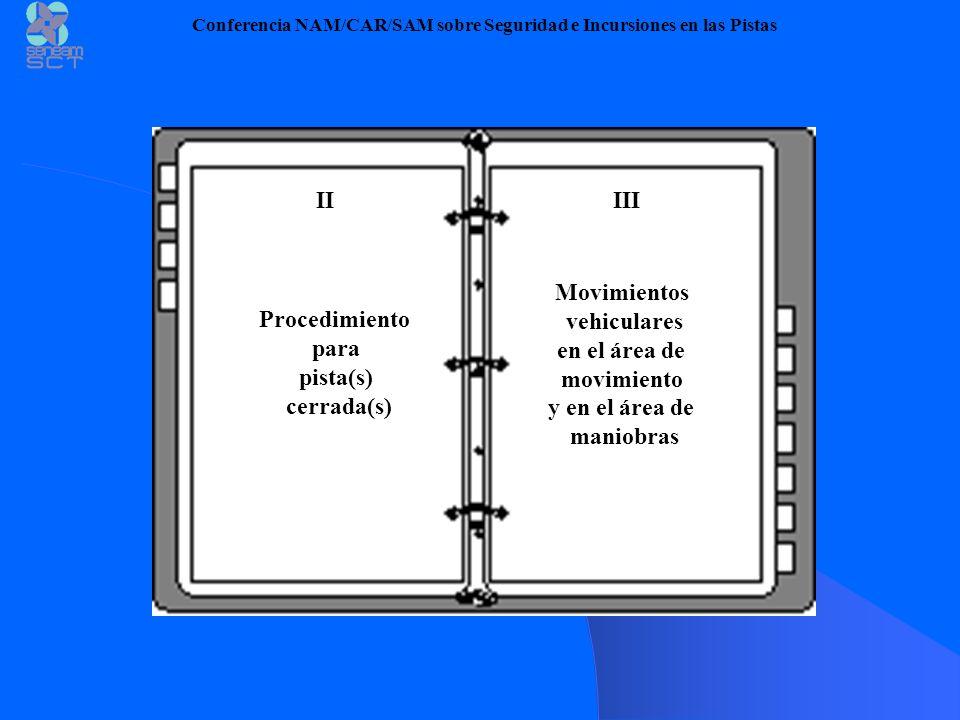 Conferencia NAM/CAR/SAM sobre Seguridad e Incursiones en las Pistas IIIII Procedimiento para pista(s) cerrada(s) Movimientos vehiculares en el área de