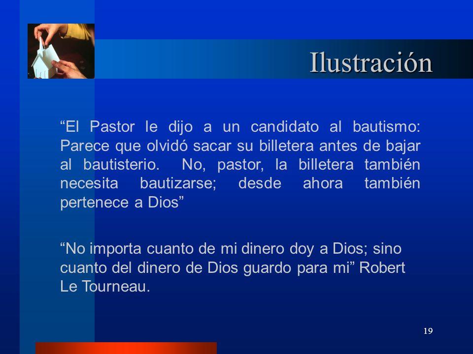 19 Ilustración El Pastor le dijo a un candidato al bautismo: Parece que olvidó sacar su billetera antes de bajar al bautisterio. No, pastor, la billet