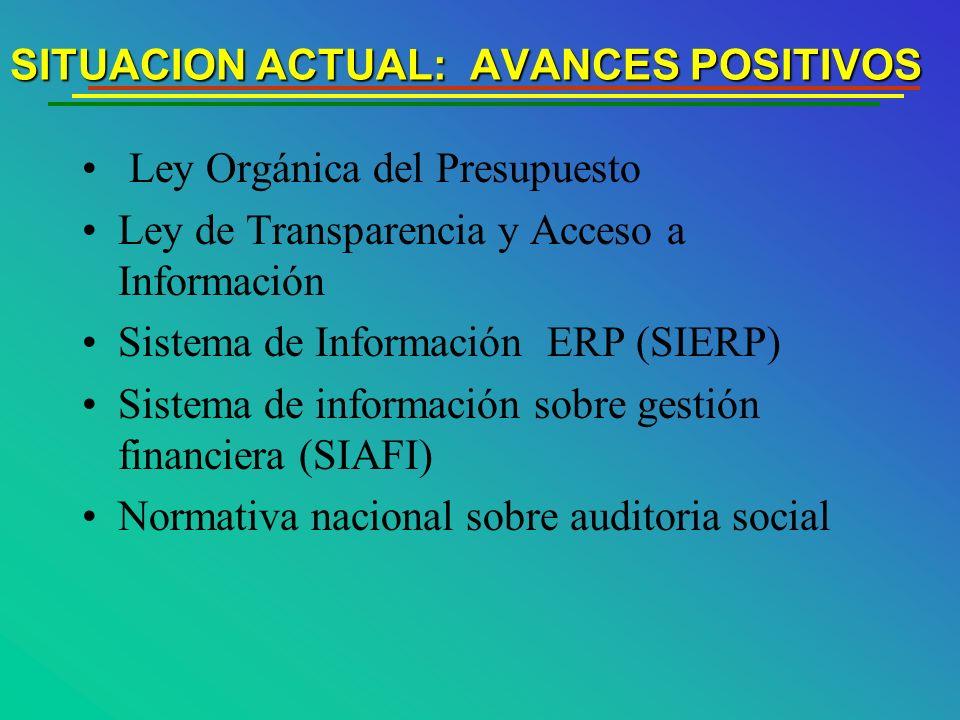 SITUACION ACTUAL: AVANCES POSITIVOS Ley Orgánica del Presupuesto Ley de Transparencia y Acceso a Información Sistema de Información ERP (SIERP) Sistema de información sobre gestión financiera (SIAFI) Normativa nacional sobre auditoria social