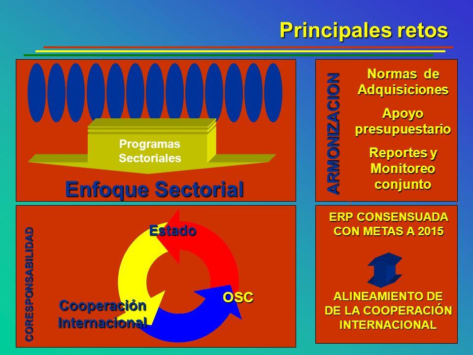 Principales retos Enfoque Sectorial Normas de Adquisiciones Apoyo presupuestario Reportes y Monitoreo conjunto ERP CONSENSUADA CON METAS A 2015 ALINEA