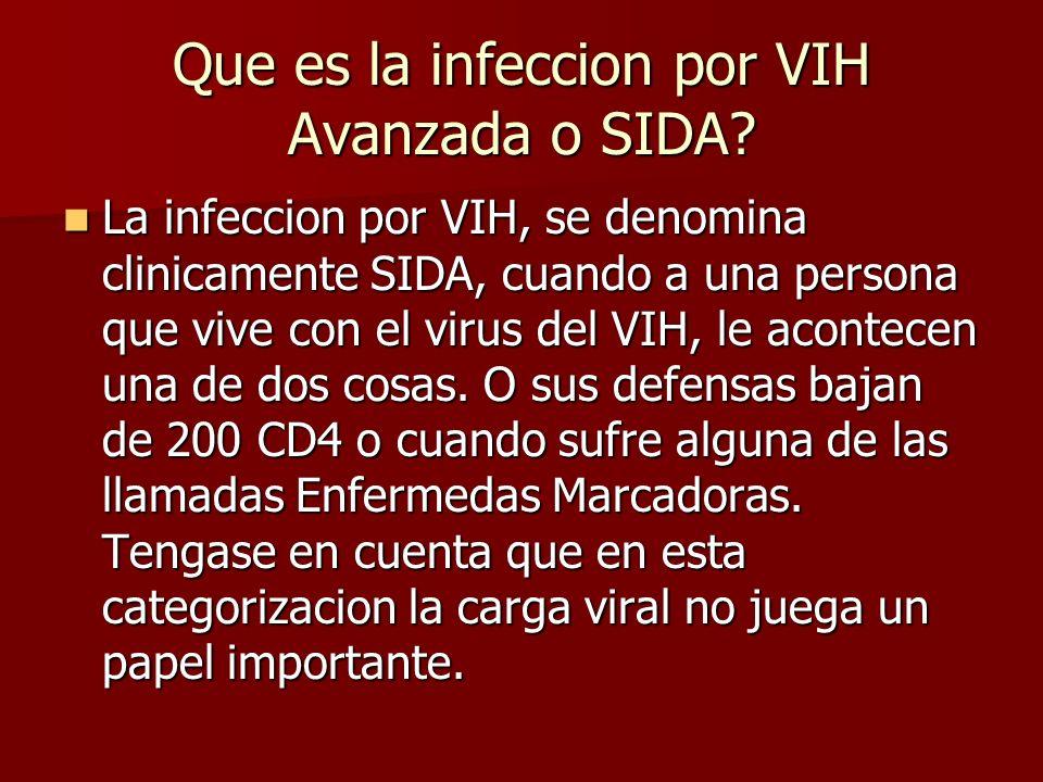 Que es la infeccion por VIH Avanzada o SIDA? La infeccion por VIH, se denomina clinicamente SIDA, cuando a una persona que vive con el virus del VIH,