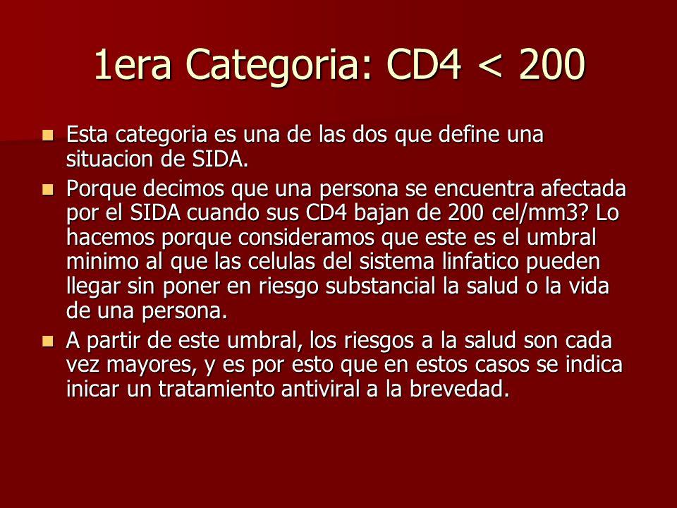 1era Categoria: CD4 < 200 Esta categoria es una de las dos que define una situacion de SIDA. Esta categoria es una de las dos que define una situacion
