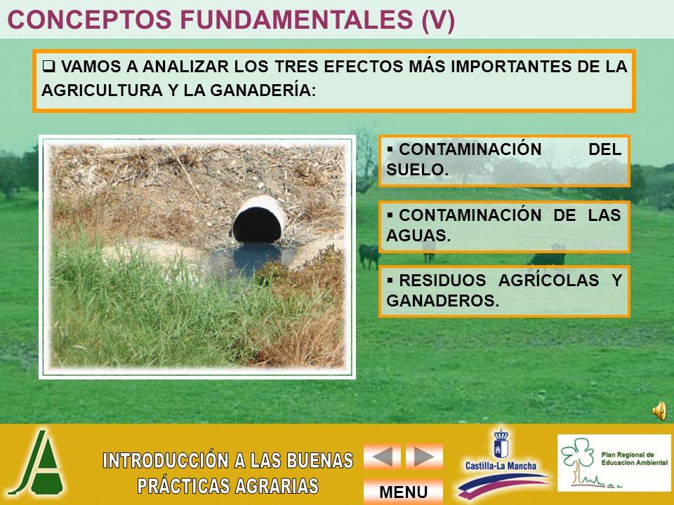 MENU VAMOS A ANALIZAR LOS TRES EFECTOS MÁS IMPORTANTES DE LA AGRICULTURA Y LA GANADERÍA: CONTAMINACIÓN DEL SUELO. CONTAMINACIÓN DE LAS AGUAS. RESIDUOS