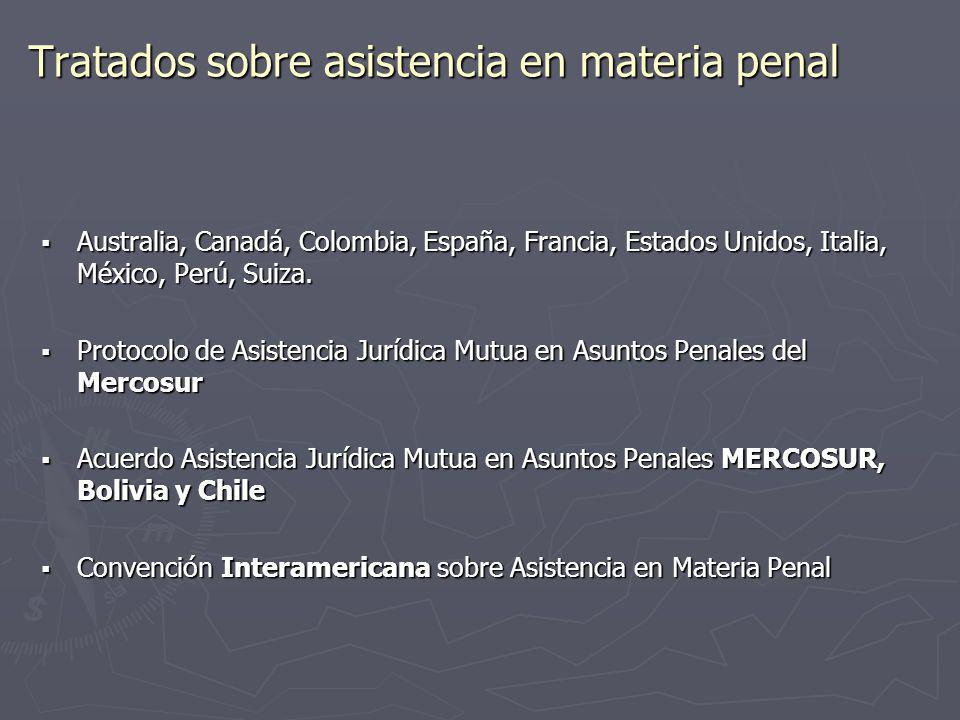 Tratados sobre asistencia en materia penal Australia, Canadá, Colombia, España, Francia, Estados Unidos, Italia, México, Perú, Suiza. Australia, Canad