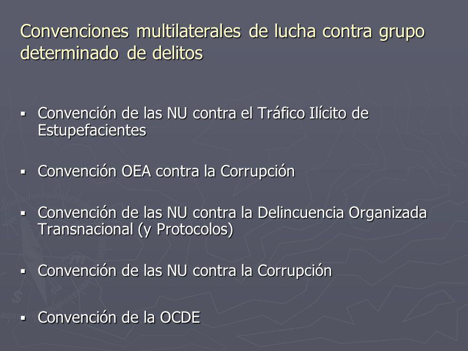 Convenciones multilaterales de lucha contra grupo determinado de delitos Convención de las NU contra el Tráfico Ilícito de Estupefacientes Convención
