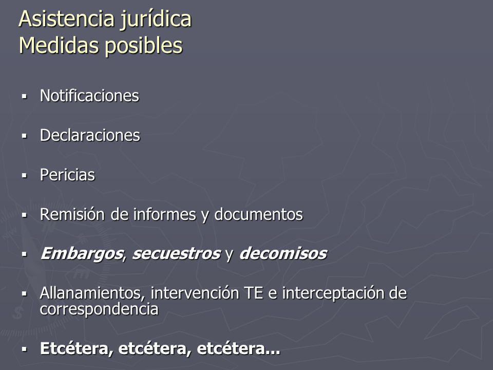 Asistencia jurídica Medidas posibles Notificaciones Notificaciones Declaraciones Declaraciones Pericias Pericias Remisión de informes y documentos Rem