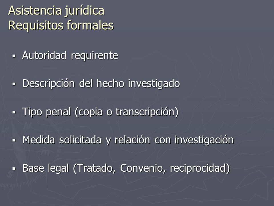 Asistencia jurídica Requisitos formales Autoridad requirente Autoridad requirente Descripción del hecho investigado Descripción del hecho investigado