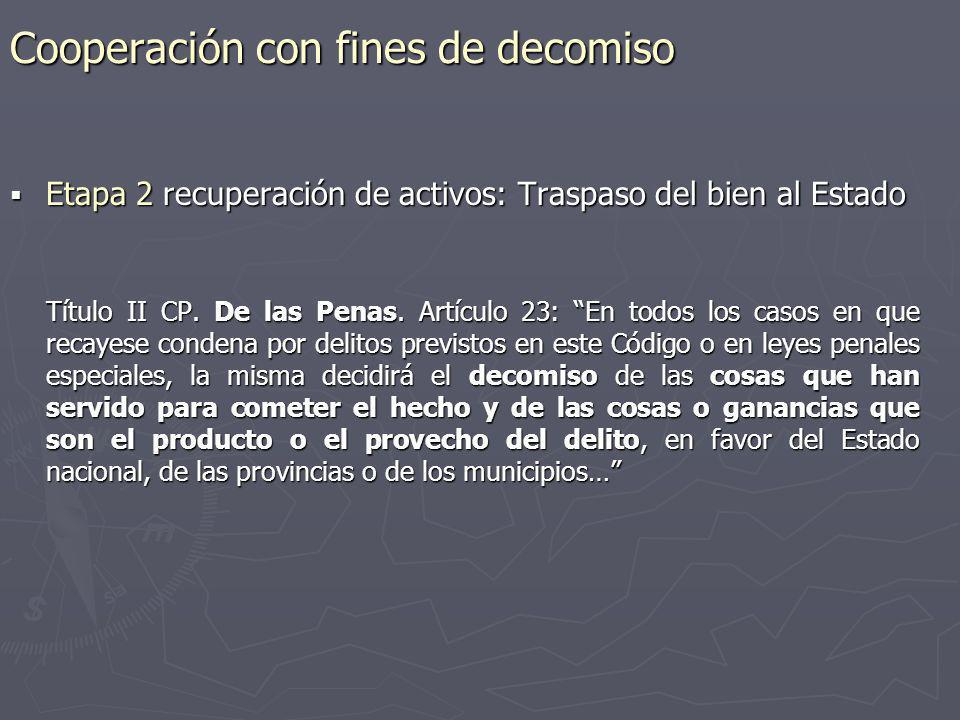 Cooperación con fines de decomiso Etapa 2 recuperación de activos: Traspaso del bien al Estado Etapa 2 recuperación de activos: Traspaso del bien al E