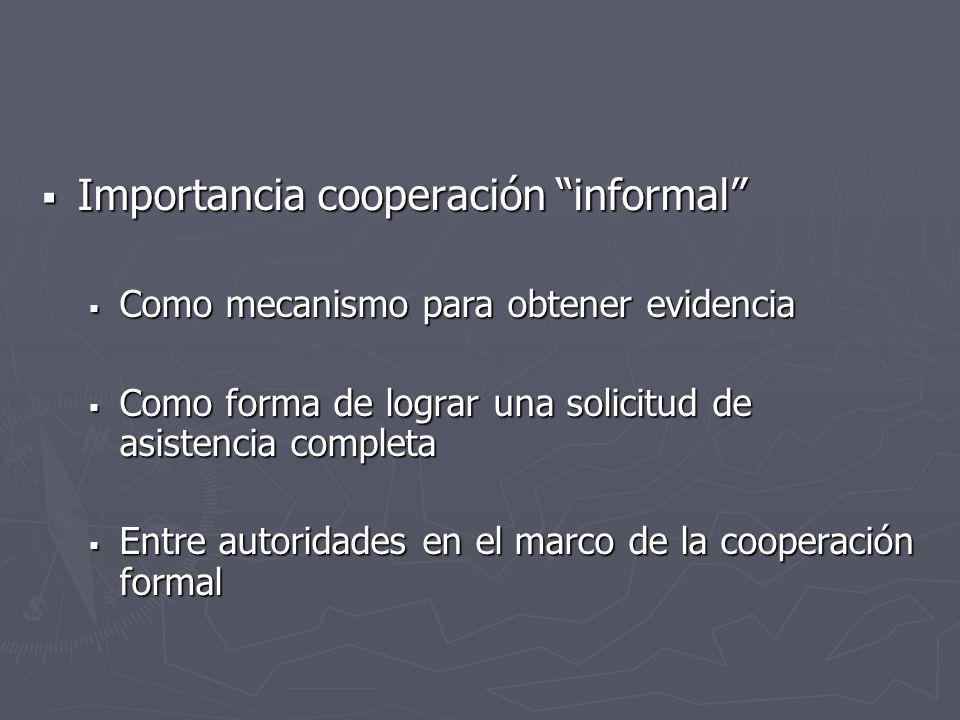 Importancia cooperación informal Importancia cooperación informal Como mecanismo para obtener evidencia Como mecanismo para obtener evidencia Como for