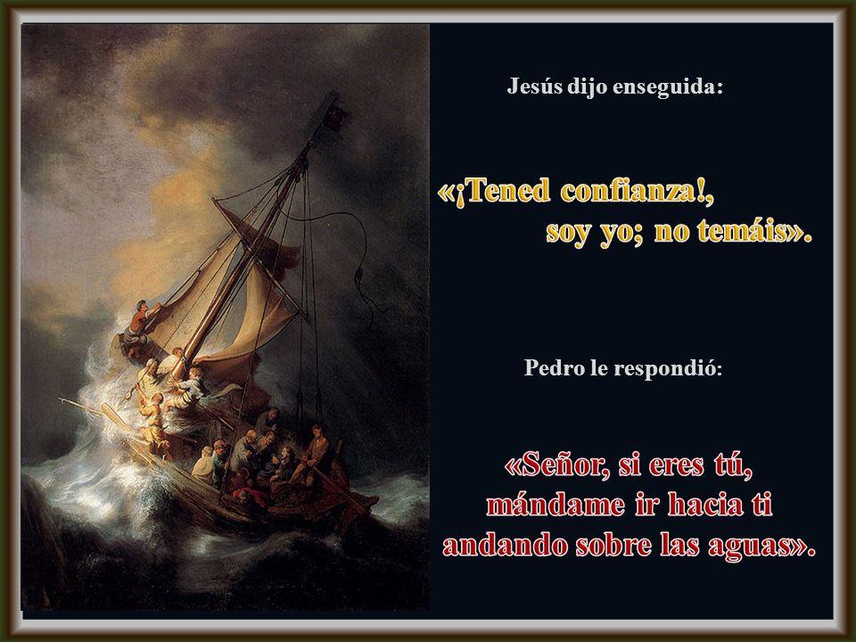 La barca iba ya muy lejos de tierra, sacudida por las olas. De madrugada se les acercó Jesús andando sobre el mar, se asustaron y gritaron de miedo, p