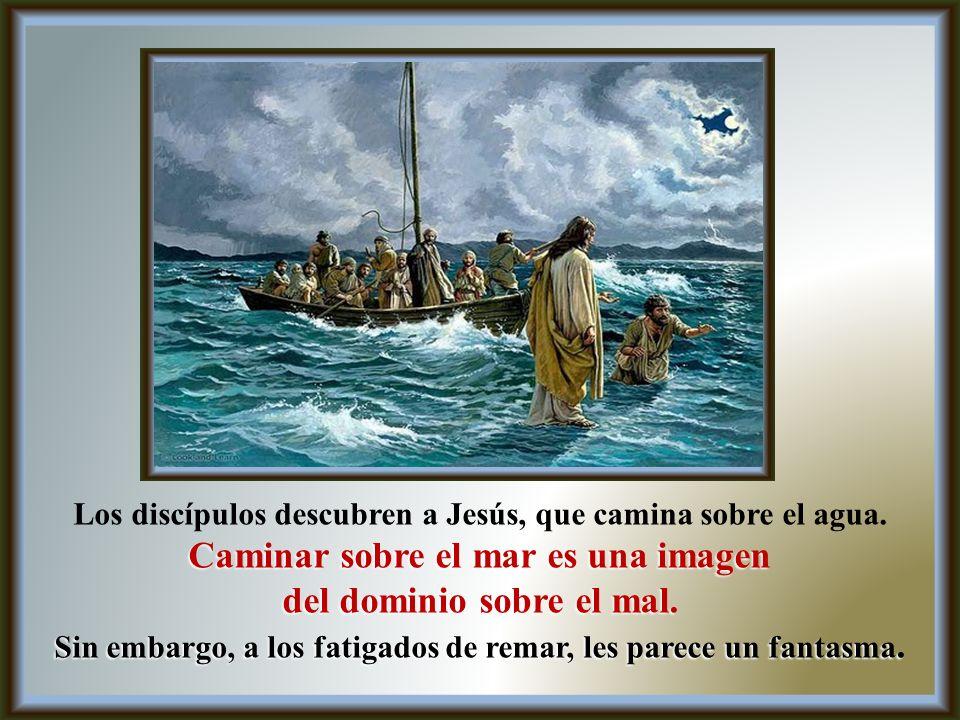 Los discípulos descubren a Jesús, que camina sobre el agua.