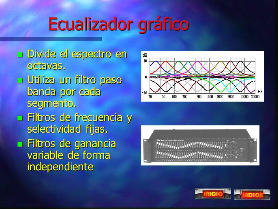 Ecualizadores n Es un conjunto de filtros que se ajustan de forma independiente. n Mediante ecualizadores podemos compensar la irregular respuesta de