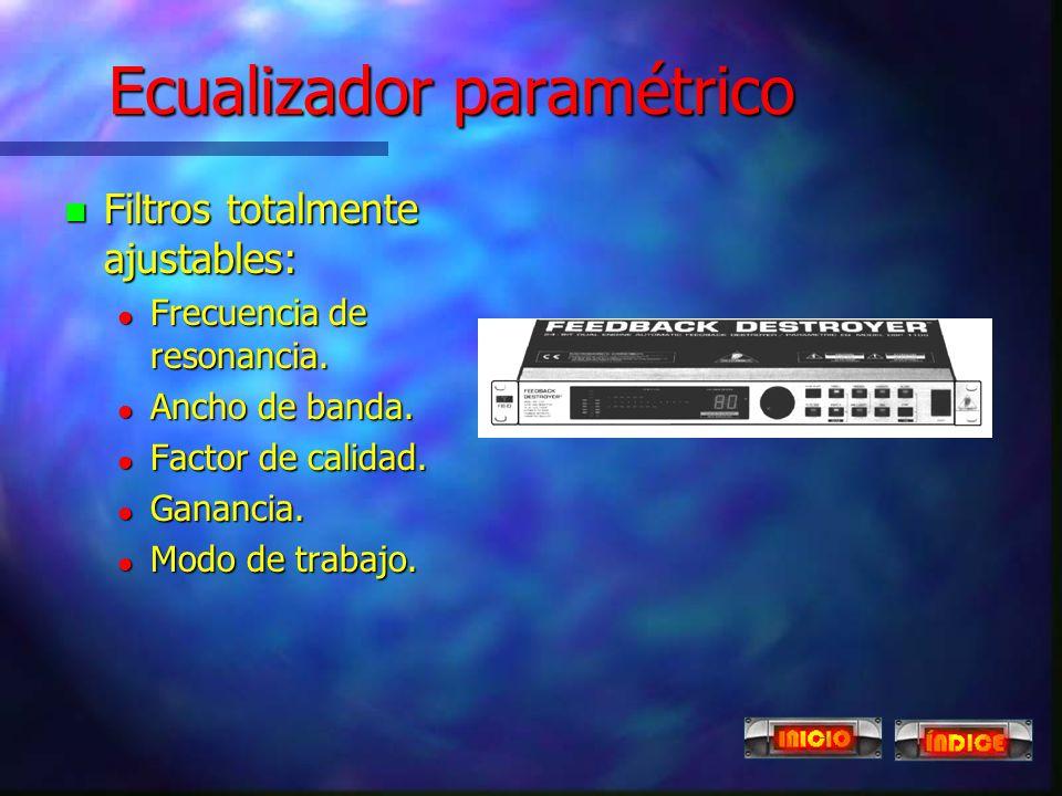 Ecualizador gráfico n Divide el espectro en octavas. n Utiliza un filtro paso banda por cada segmento. n Filtros de frecuencia y selectividad fijas. n