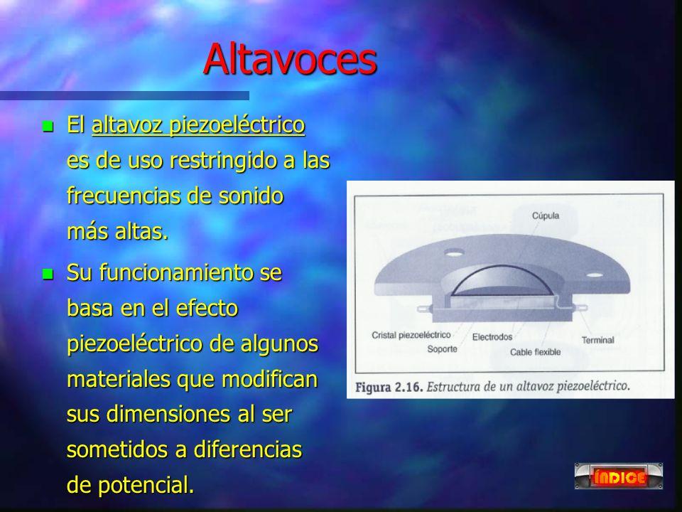 Altavoces n El altavoz electrostático es de uso menos extendido por su elevado coste. n Su funcionamiento se basa en el efecto capacitivo de dos placa