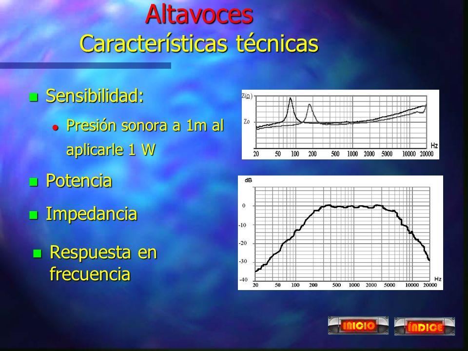 Altavoces n El altavoz piezoeléctrico es de uso restringido a las frecuencias de sonido más altas. n Su funcionamiento se basa en el efecto piezoeléct