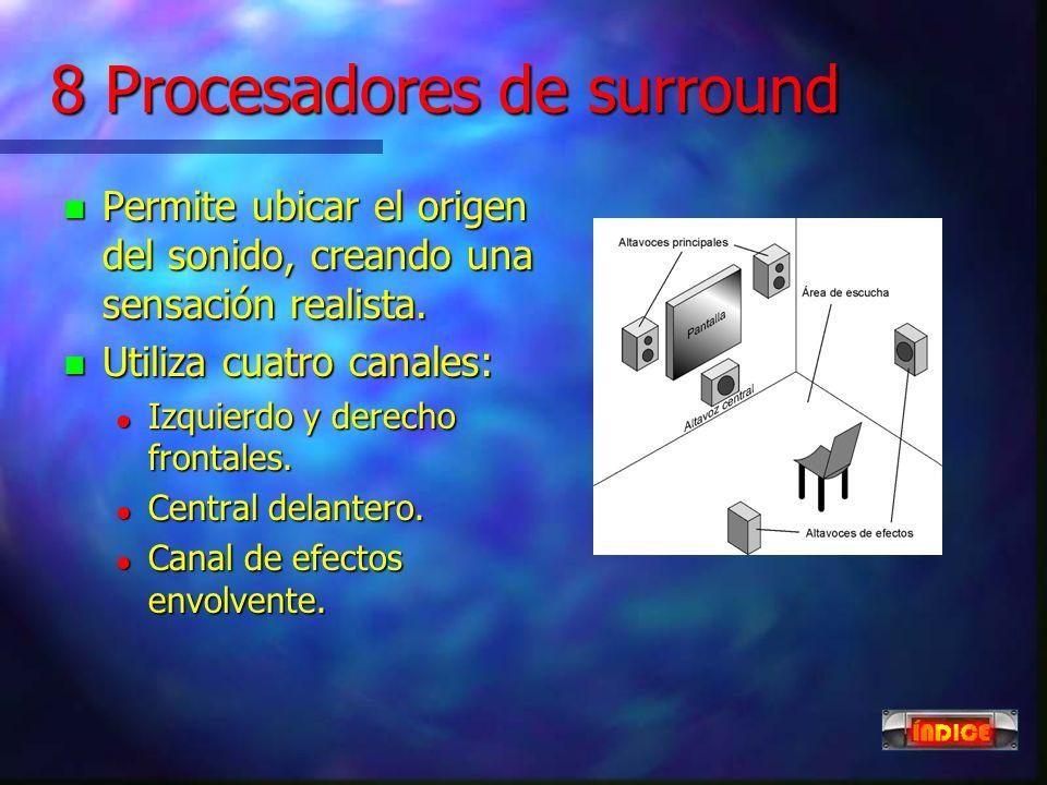 7 compresores y expansores n Compresor: Reduce el margen dinámico de la señal de entrada. n El punto de inicio (codo) y el grado de compresión (pendie