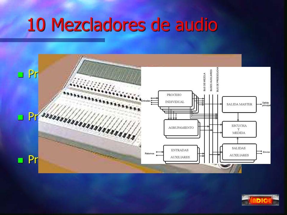 9 Adaptadores telefónicos n Los híbridos telefónicos adaptan la señal de teléfono al mezclador de audio y viceversa. n El audiocodificador telefónico