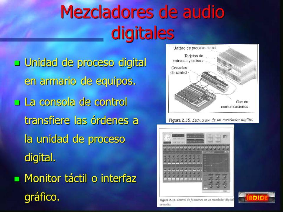 Mezcladores de audio otras funciones n Control de híbridos telefónicos. n Señalización tally. n Control de máquinas. n Línea de talkback