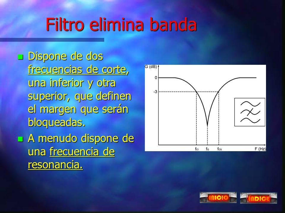 Filtro paso banda n Dispone de dos frecuencias de corte, una inferior y otra superior, que definen el margen que se transferirá desde la entrada a la