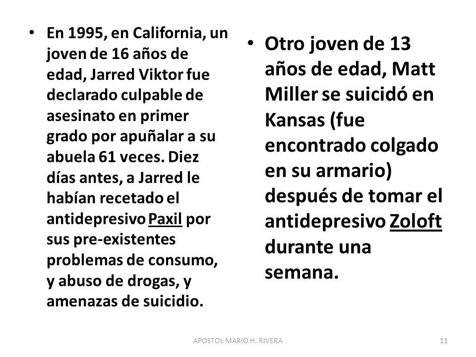 En 1995, en California, un joven de 16 años de edad, Jarred Viktor fue declarado culpable de asesinato en primer grado por apuñalar a su abuela 61 veces.