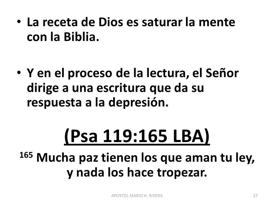 La receta de Dios es saturar la mente con la Biblia. Y en el proceso de la lectura, el Señor dirige a una escritura que da su respuesta a la depresión