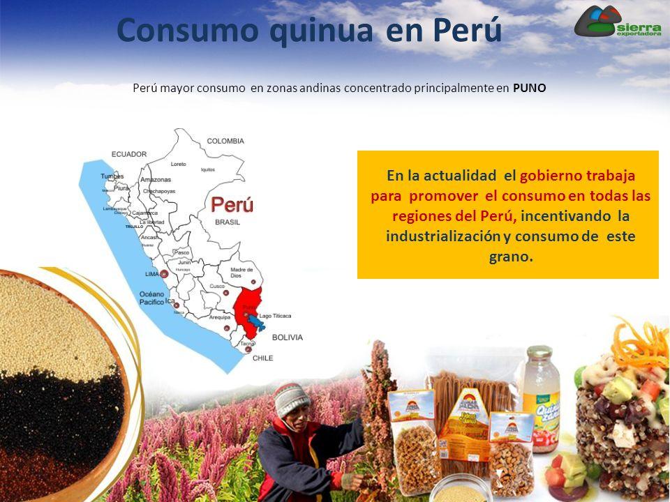 Consumo quinua en Perú Perú mayor consumo en zonas andinas concentrado principalmente en PUNO En la actualidad el gobierno trabaja para promover el consumo en todas las regiones del Perú, incentivando la industrialización y consumo de este grano.