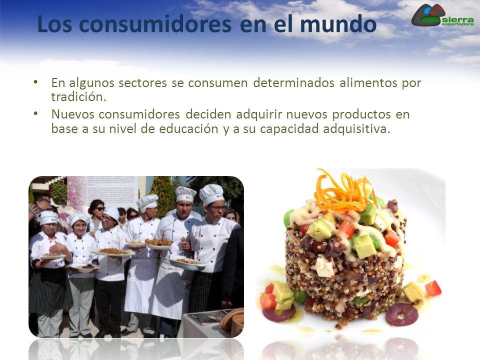 Los consumidores en el mundo En algunos sectores se consumen determinados alimentos por tradición. Nuevos consumidores deciden adquirir nuevos product
