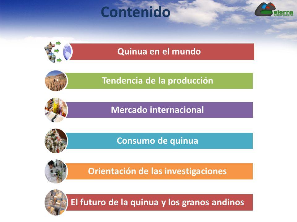 Quinua en el mundo Tendencia de la producción Mercado internacional Consumo de quinua Orientación de las investigaciones El futuro de la quinua y los