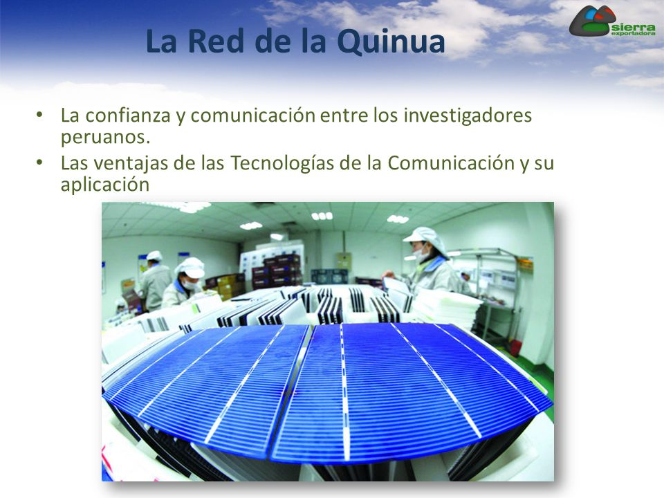 La Red de la Quinua La confianza y comunicación entre los investigadores peruanos. Las ventajas de las Tecnologías de la Comunicación y su aplicación