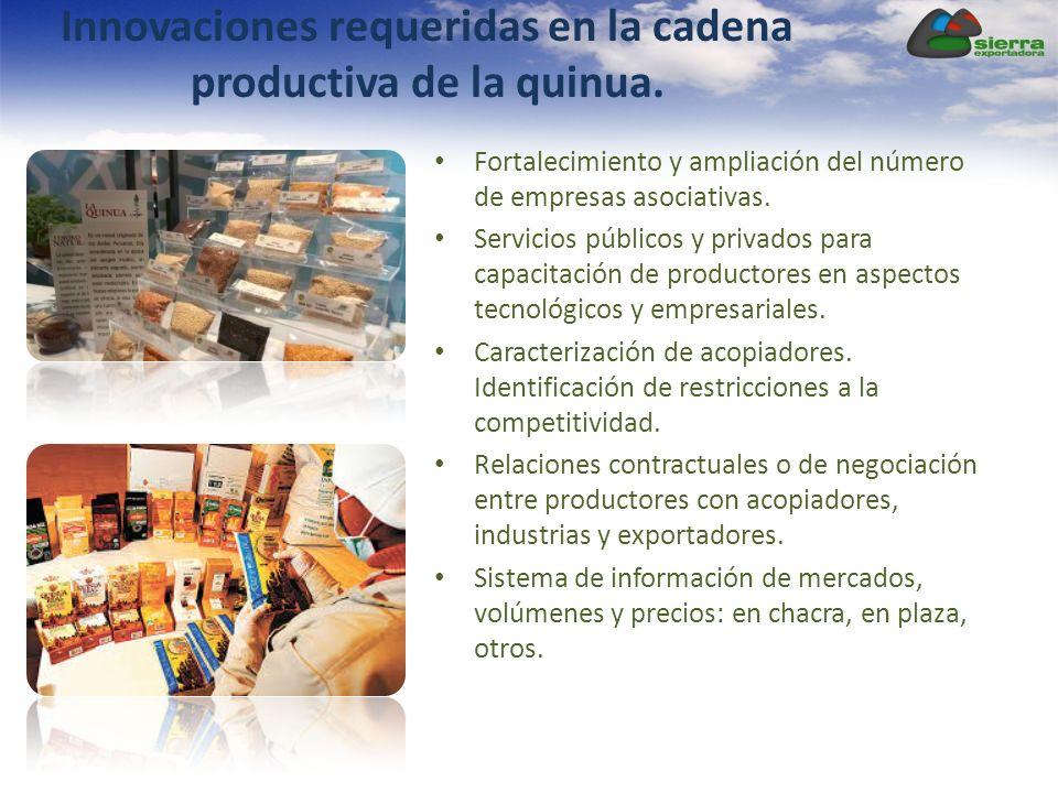 Innovaciones requeridas en la cadena productiva de la quinua. Fortalecimiento y ampliación del número de empresas asociativas. Servicios públicos y pr