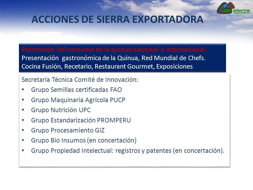 Secretaría Técnica Comité de Innovación: Grupo Semillas certificadas FAO Grupo Maquinaria Agrícola PUCP Grupo Nutrición UPC Grupo Estandarización PROM