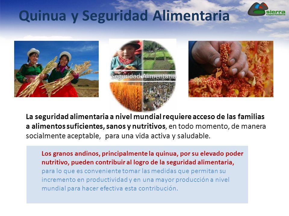 Quinua y Seguridad Alimentaria La seguridad alimentaria a nivel mundial requiere acceso de las familias a alimentos suficientes, sanos y nutritivos, en todo momento, de manera socialmente aceptable, para una vida activa y saludable.