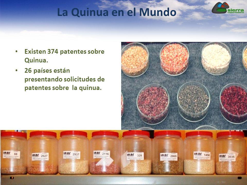 La Quinua en el Mundo Existen 374 patentes sobre Quinua. 26 países están presentando solicitudes de patentes sobre la quinua.