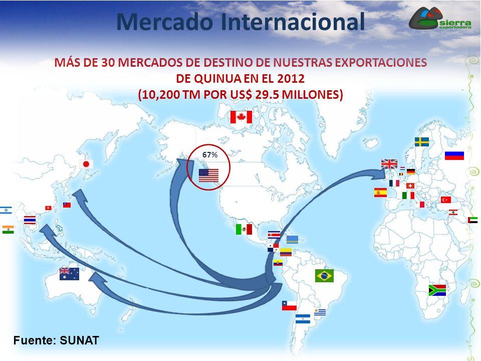MÁS DE 30 MERCADOS DE DESTINO DE NUESTRAS EXPORTACIONES DE QUINUA EN EL 2012 (10,200 TM POR US$ 29.5 MILLONES) Fuente: SUNAT 67% Mercado Internacional