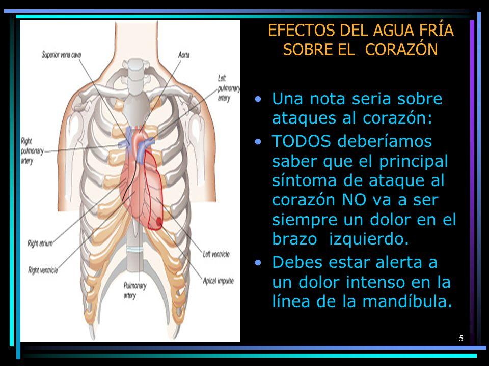 5 EFECTOS DEL AGUA FRÍA SOBRE EL CORAZÓN Una nota seria sobre ataques al corazón: TODOS deberíamos saber que el principal síntoma de ataque al corazón NO va a ser siempre un dolor en el brazo izquierdo.