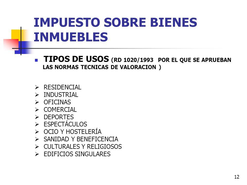 11 IMPUESTO SOBRE BIENES INMUEBLES TIPOS DE GRAVAMEN URBANOS 0,4% ---- 1,10% INCREMENTO HASTA 1,30 % Capital de provincia o CC.AA. 0,07 Servicio de Tr
