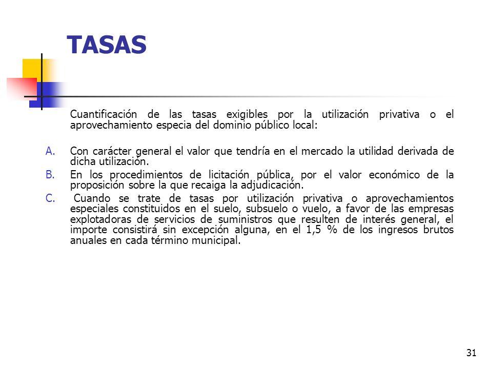 30 TASAS Las Entidades Locales, en los términos previstos en la Ley, podrán establecer tasas por la utilización privativa o el aprovechamiento especia