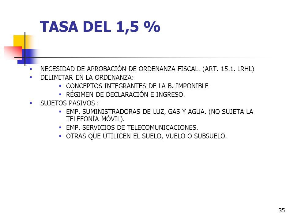34 TASA DEL 1,5 % LA REFORMA DE 2003 INTRODUJO ALGUNAS PRECISIONES EN LAS TASA DEL 1,5% DE LAS EMPRESAS EXPLOTADORAS DE SERVICIOS DE SUMINISTROS : - S