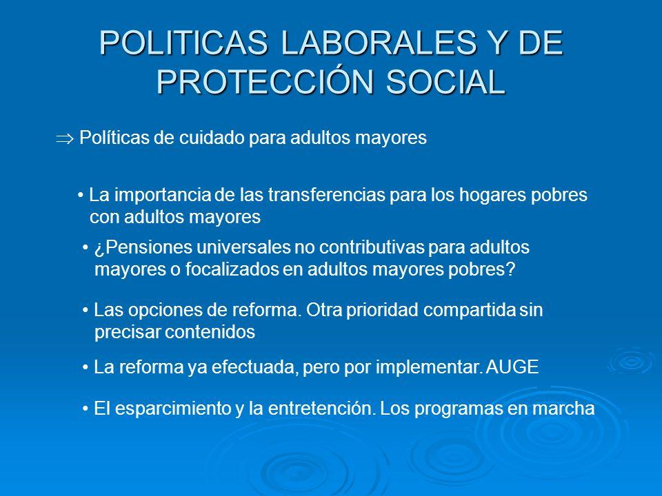 POLITICAS LABORALES Y DE PROTECCIÓN SOCIAL Políticas de cuidado para adultos mayores La importancia de las transferencias para los hogares pobres con
