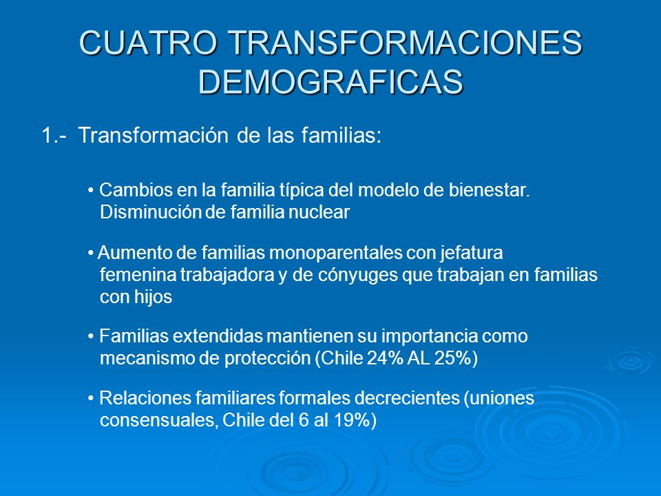 CUATRO TRANSFORMACIONES DEMOGRAFICAS 1.- Transformación de las familias: Cambios en la familia típica del modelo de bienestar. Disminución de familia