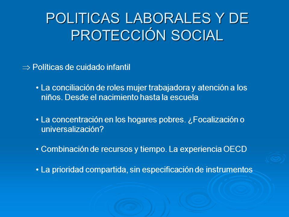 POLITICAS LABORALES Y DE PROTECCIÓN SOCIAL La conciliación de roles mujer trabajadora y atención a los niños. Desde el nacimiento hasta la escuela Pol