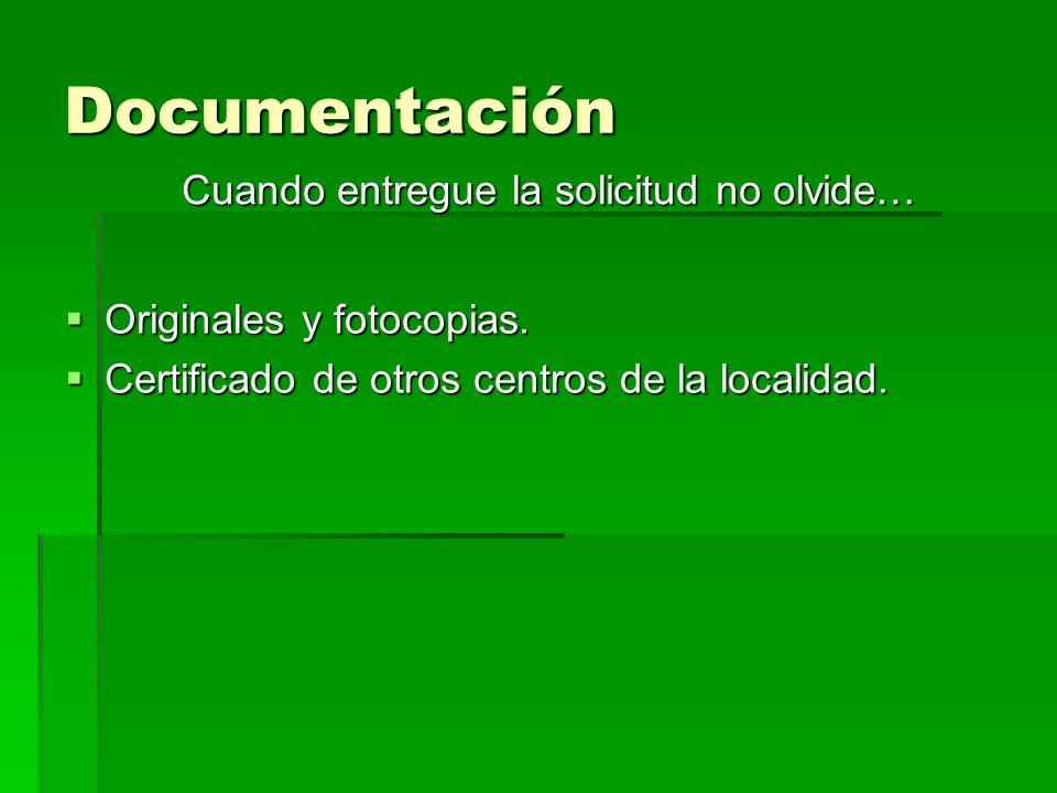 Documentación Originales y fotocopias. Originales y fotocopias.